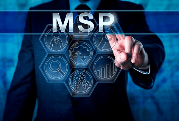 Person in a business suit clicking on the word MSP from a screen.