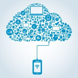 A graphic image of a mobile device connected to the cloud with many other devices within it