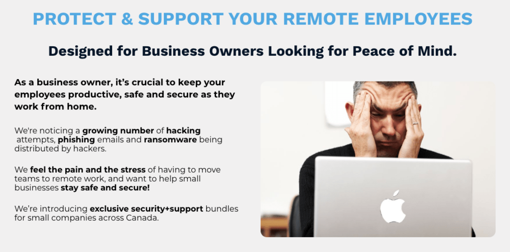 Protect and Support your Remote Employees - shows a frustrated man sitting in front of his Apple laptop.