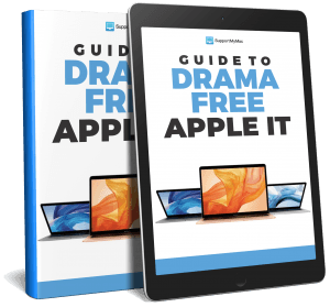 A book and an iPad showing the Guide to Drama Free Apple IT