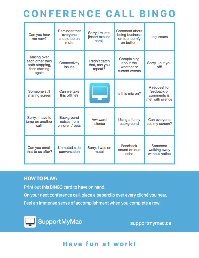 SupportMyMac Zoom Conference Call Bingo Card