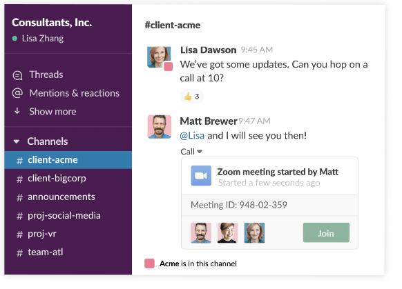 The Slack conversation panel.